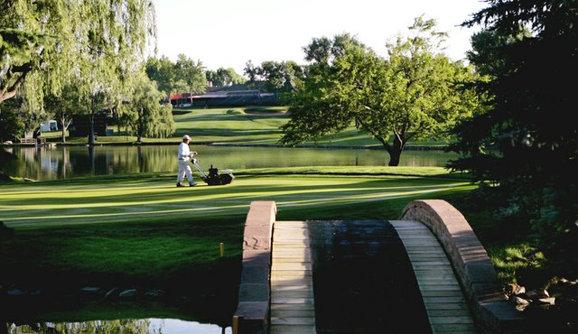 The 17th green at Cherry Hills Country Club in Denver