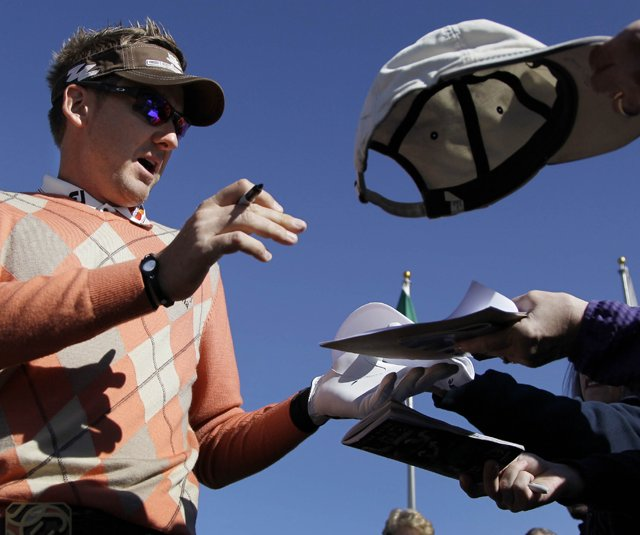 Ian Poulter signs autographs Monday at the Ritz-Carlton Club in Marana, Ariz., site of this week's WGC-Accenture Match Play Championship.