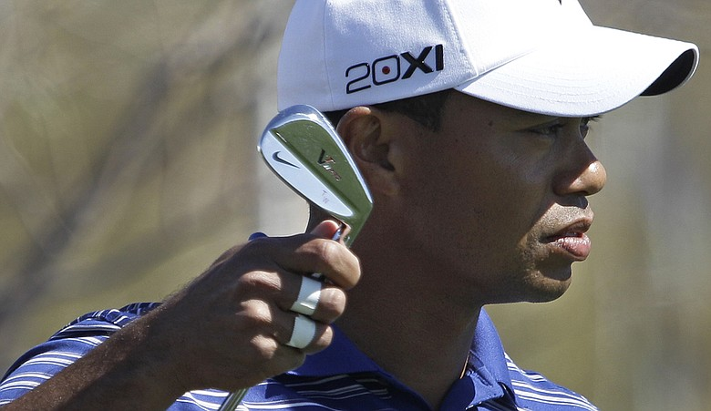 Tiger Woods during the practice round of the WGC-Accenture Match Play Championship in Marana, Ariz.
