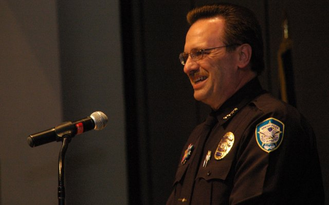 "Winter Park Police Chief Brett Railey speaks at his swearing in ceremony in 2009. The police union voted that they have ""no confidence"" in his leadership."