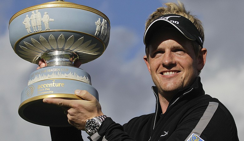 Luke Donald holds the trophy after winning the WGC-Accenture Match Play Championship.