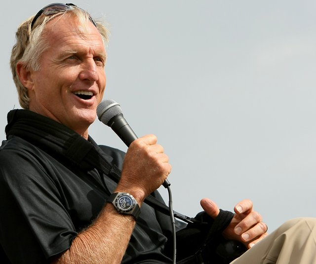 Greg Norman speaks with the crowd and Golfweek Senior Writer Jeff Rude at Golfweek's Golfest at The Villages.