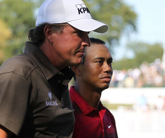 Phil Mickelson and Tiger Woods during the 2010 BMW Championship.