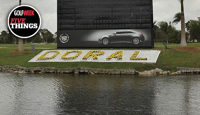 A view of the leaderboard during a practice round at the World Golf Championships Cadillac Championship at Doral Country Club.
