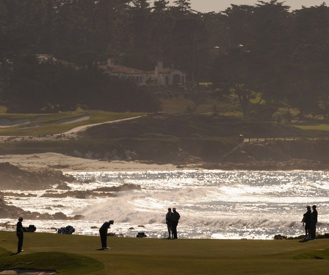 A general view of play during the first round of the AT&T Pebble Beach National Pro-Am at Monterey Peninsula Country Club.