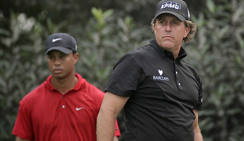 Tiger Woods and Phil Mickelson during the 2009 HSBC Champions