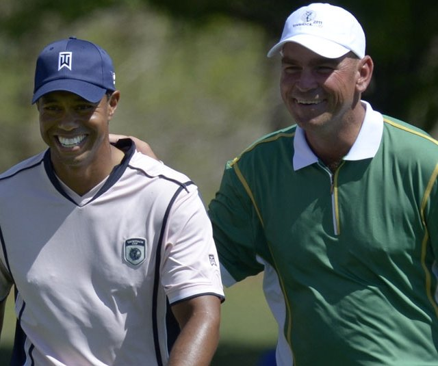 Tiger Woods and Thomas Bjorn during Day 1 of the Tavistock Cup.