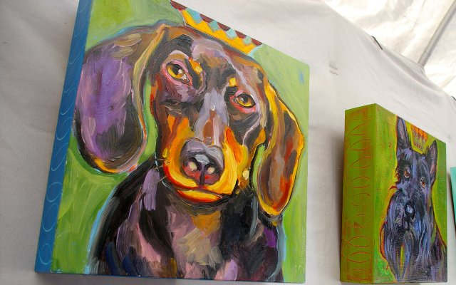 Gena Semenov displayed pet-themed art at the Baldwin Park Art and Jazz Festival on Saturday, March 12.