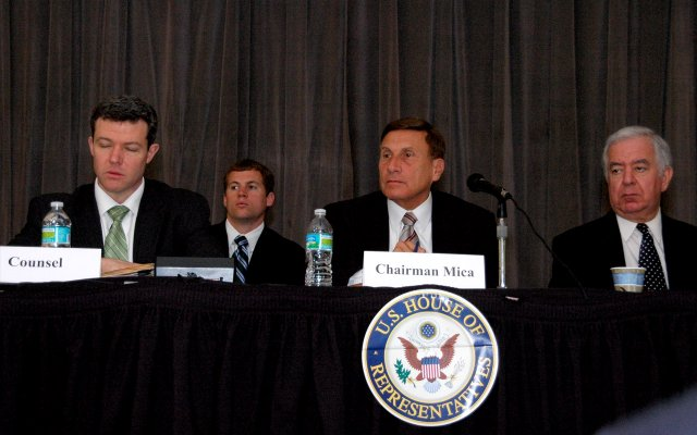 U.S. Rep. John Mica, center, hosted a transportation hearing on Monday in Maitland.