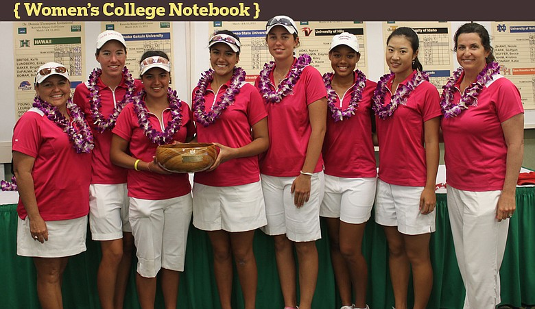 From left: assistant coach Missy Farr-Kaye, Carlota Ciganda, Daniela Ordonez, Laura Blanco, Giulia Molinaro, Nicole Jones, Justine Lee and head coach Melissa Luellen.