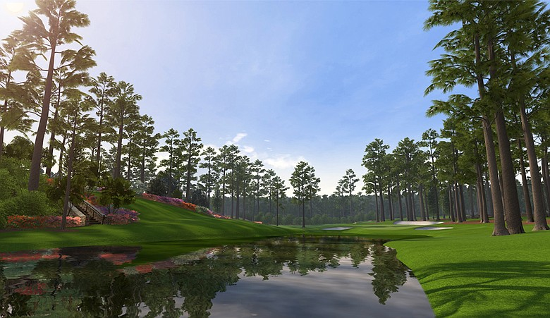 A screenshot of the par-3 16th hole at Augusta National