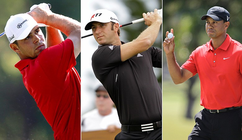 Gary Woodland, Dustin Johnson and Tiger Woods