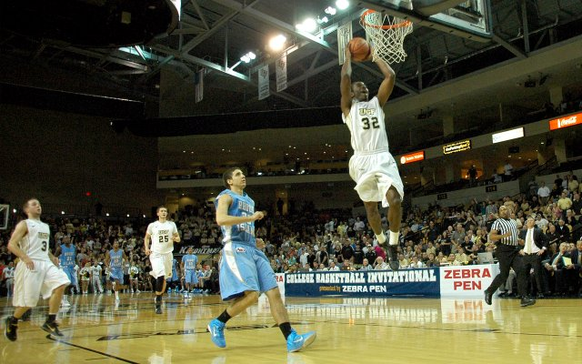 Isaiah Sykes slams a breakaway dunk during the rally that put the Knights ahead. The UCF bench was instrumental in the big win, adding 37 points.