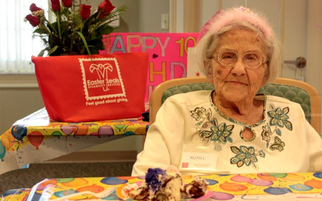 Ruth Leiber celebrates her 109th birthday with family and friends at the Easter Seals Day Break in Winter Park on March 24.