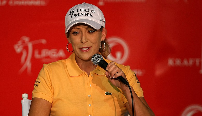 Cristie Kerr at a morning press conference Wednesday at the Kraft Nabisco Championship.