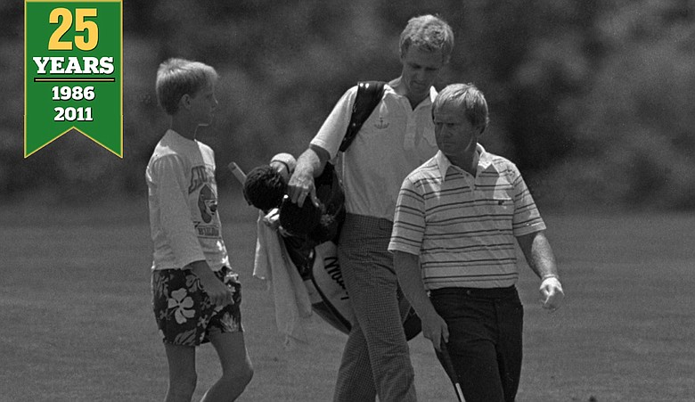 Masters champion Jack Nicklaus walks down a fairway followed by his sons Michael, and Jackie who is also his caddy, during a practice round at the 1986 U.S. Open site at Southampton, N.Y. June 11, 1986. First round play was to begin two days later at the Southampton course.