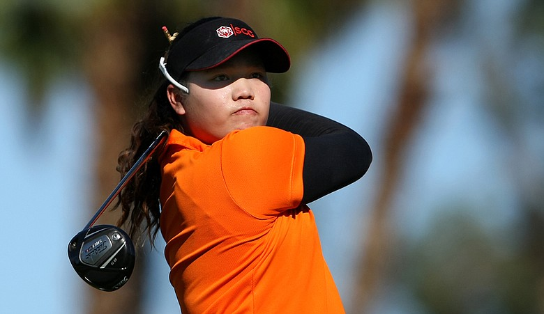 Ariya Jutanugarn during the first round of the Kraft Nabisco Championship.