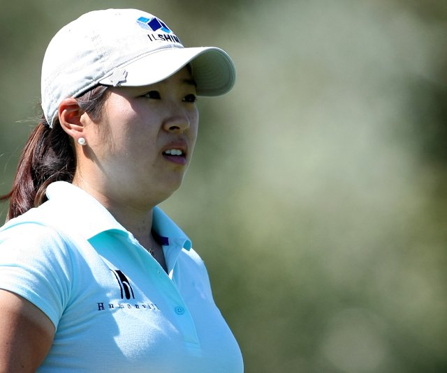 Mindy Kim at No. 7 during the first round of the Kraft Nabisco Championship.