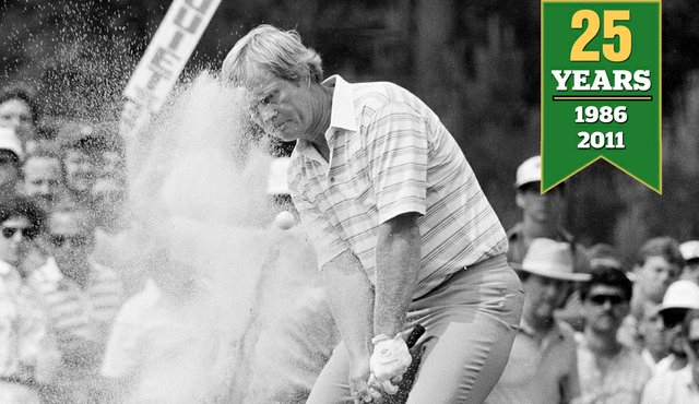 Jack Nicklaus hits from the sand during the second round of the 1986 Masters, April 11, 1986.