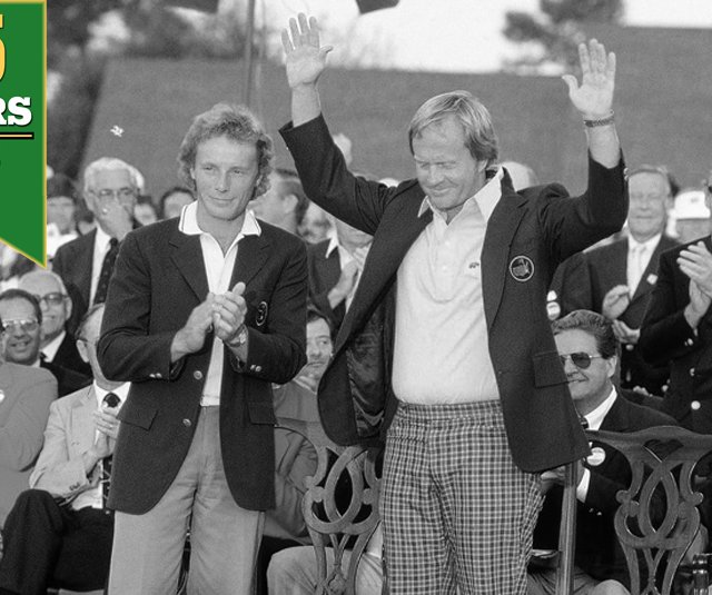 Jack Nicklaus receives the Green Jacket from 1985 winner Bernhard Langer.