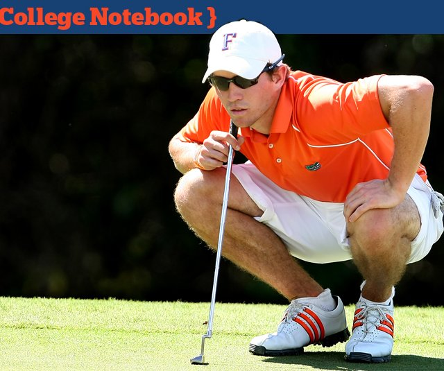 Florida's Andres Echavarria looks over his putt at No. 15 during the Gary Koch Intercollegiate at Old Memorial Golf Club in Tampa, Fla.