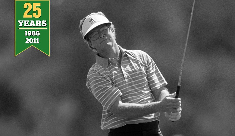 Tom Kite drives during the 1986 Masters at the Augusta National Golf Club in Augusta, Georgia.