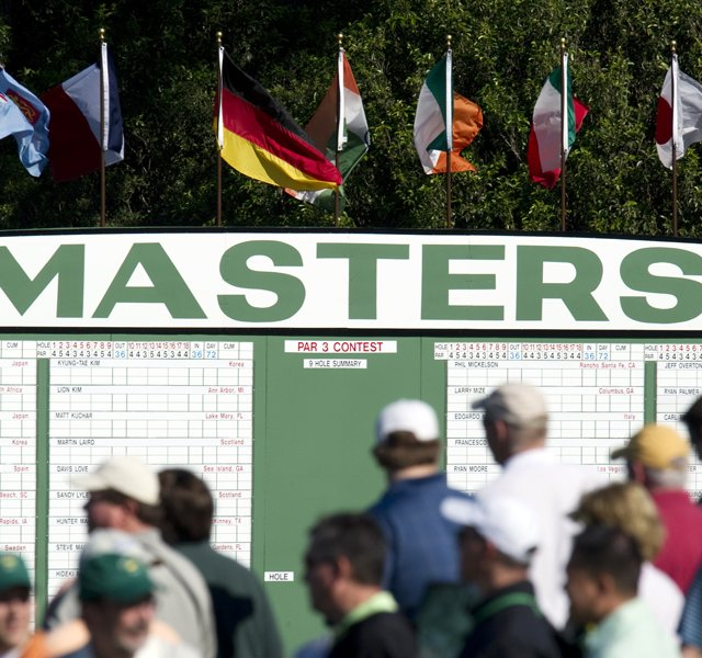 Golf fans during a practice round prior to the 2011 Masters Tournament at Augusta National Golf Club.