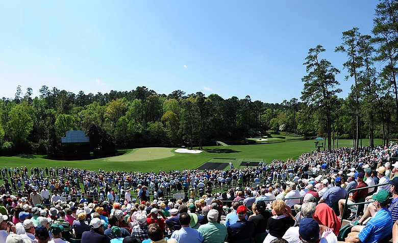 A general view of the 11th and 12th holes during a practice round prior to the 2011 Masters Tournament at Augusta National on April 4, 2011.