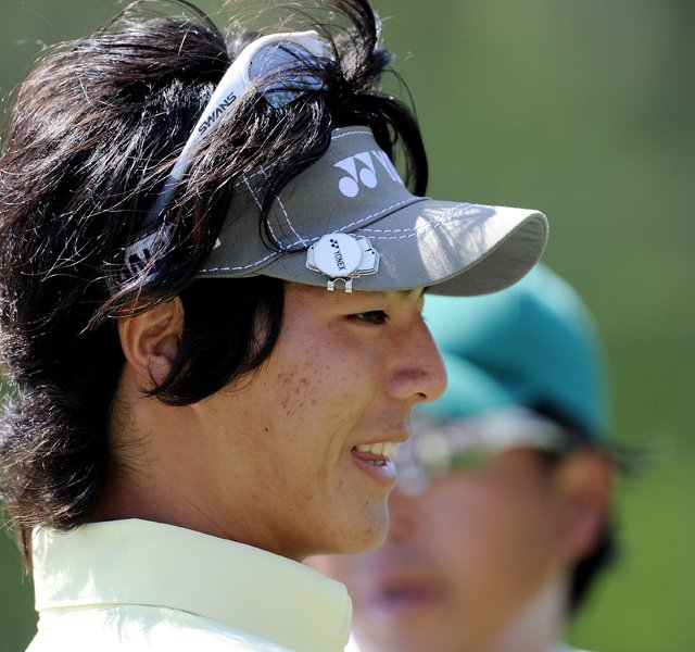 Ryo Ishikawa of Japan looks on during a practice round prior to the 2011 Masters Tournament at Augusta National Golf Club on April 4, 2011 in Augusta, Georgia.