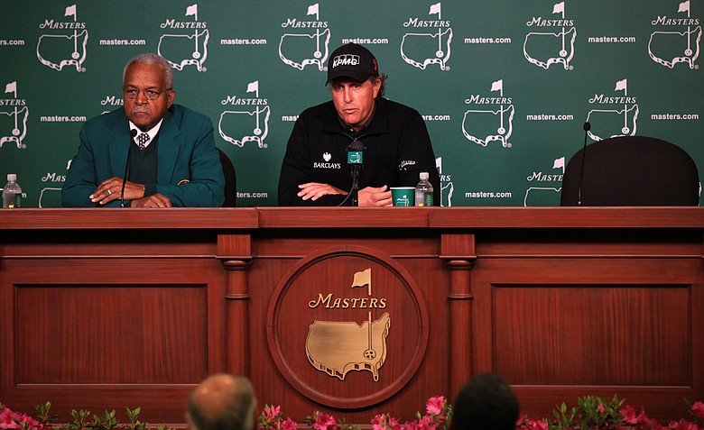 Phil Mickelson speaks with the media during a practice round prior to the 2011 Masters Tournament at Augusta National Golf Club on April 5, 2011 in Augusta, Georgia.