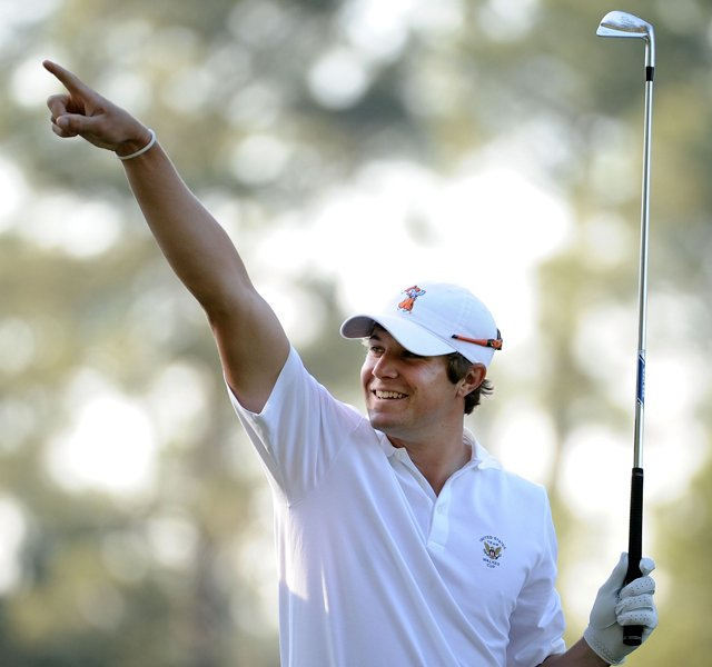 Amateur Peter Uihlein waits on a tee box during a practice round prior to the 2011 Masters Tournament at Augusta National Golf Club.