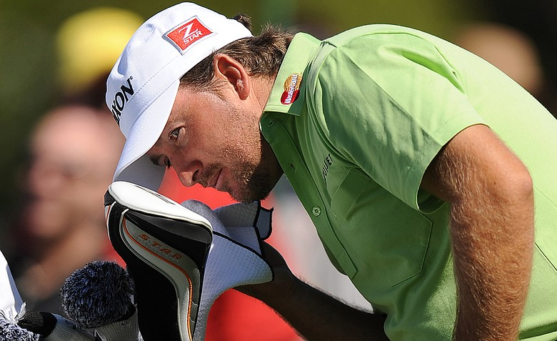 Graeme McDowell of Northern Ireland wipes his face on the last practice day for the 2011 Masters Tournament at Augusta National Golf Club April 6, 2011 in Augusta, Georgia.