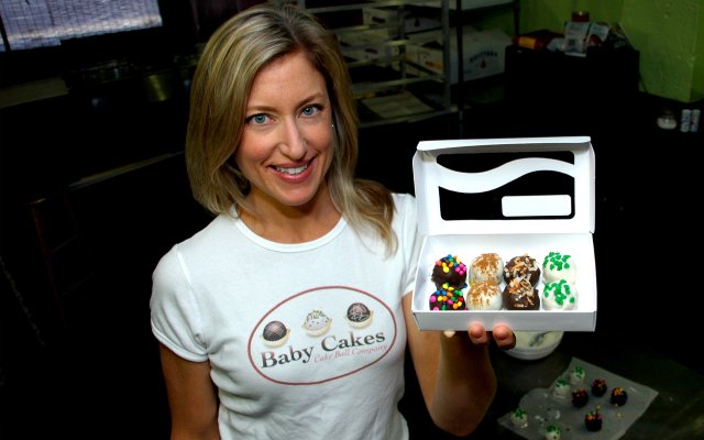 Baby Cakes owner Becca Sanders shows off her sweet product.