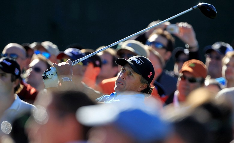 Phil Mickelson during a practice round for the 2011 Masters.