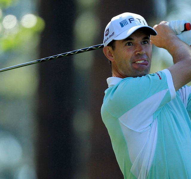Padraig Harrington of Ireland hits his tee shot on the fourth hole during the first round of the 2011 Masters Tournament at Augusta National Golf Club on April 7, 2011 in Augusta, Georgia.