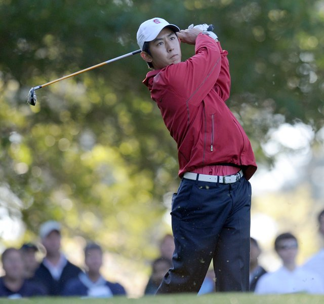 David Chung of the US hits a tee shot during the first round of the Masters golf tournament at Augusta National Golf Club on April 7, 2011 in Augusta, Georgia.