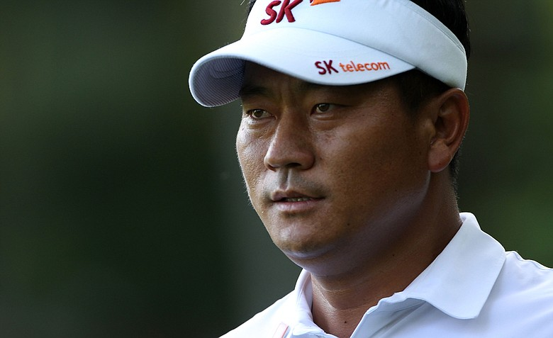K.J. Choi of South Korea looks on during the first round of the 2011 Masters Tournament at Augusta National Golf Club on April 7, 2011 in Augusta, Georgia.