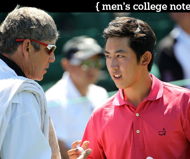 Stanford&#39;s David Chung shakes hands with his caddie and coach Adam Schriber on the 18th green during the first round of the 2011 Masters.