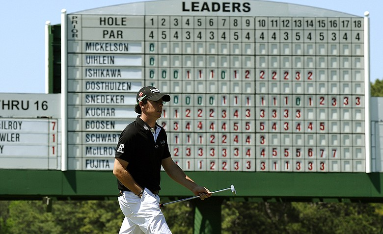 Rory McIlroy, seen here on No. 17, shot 65 to take the early first-round lead at the Masters.