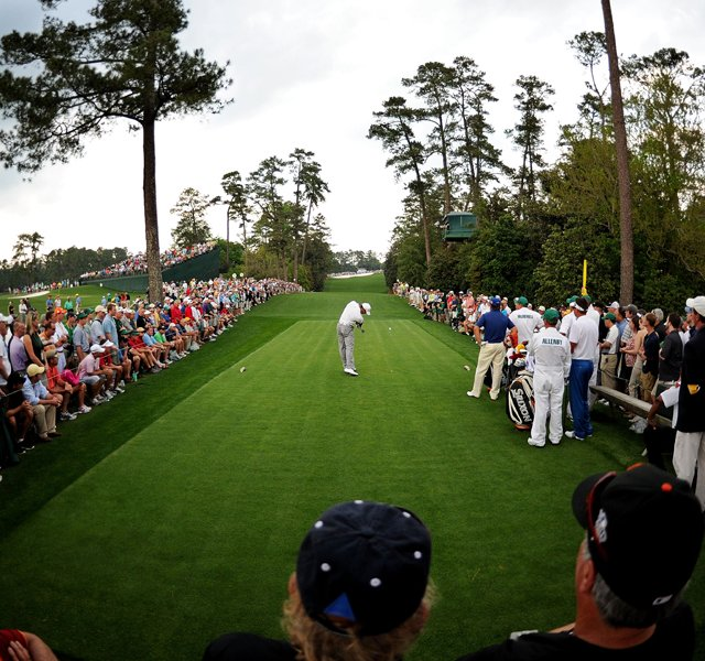 Tiger Woods hits his tee shot on the 18th hole during the first round of the 2011 Masters Tournament at Augusta National Golf Club on April 7, 2011 in Augusta, Georgia.