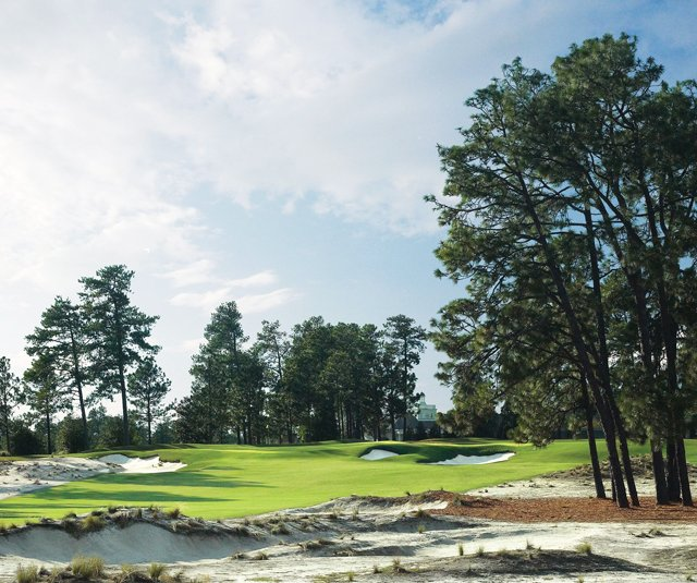 The 13th hole at Pinehurst No. 2