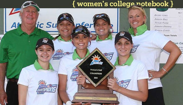 The Stetson women&#39;s golf team after winning the Atlantic Sun Championship for the third straight time.