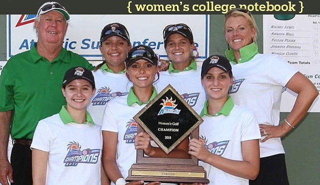 The Stetson women's golf team after winning the Atlantic Sun Championship for the third straight time.