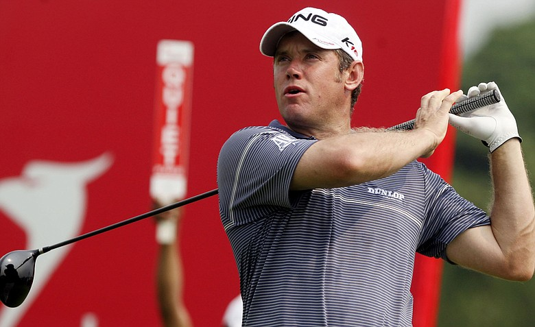Lee Westwood during Round 2 of the Indonesian Masters.