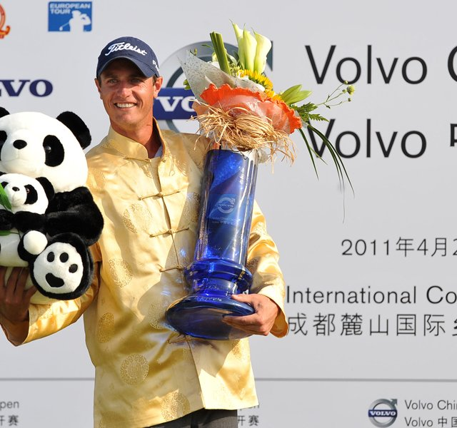 Nicolas Colsaerts of Belgium celebrates winning the 2011 Volvo China Open Golf Tournament in Chengdu in southwest China's Sichuan province on Sunday, April 24, 2011.