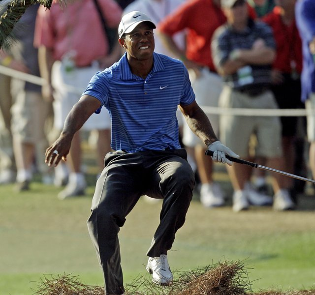 Tiger Woods suffered a MCL sprain in his left knee during this shot in the third round of the 2011 Masters.
