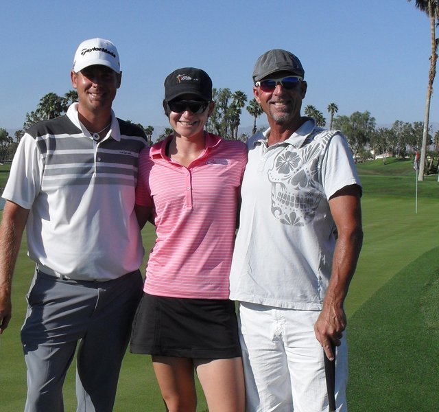 Robin Freeman, Nicole Noelle Smith and Alex Coe on the 18th hole of Palmer Private out at PGA WEST.