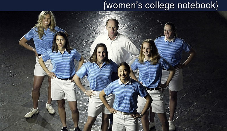 The 2004 Duke women's golf team, which won the East Regional: from left, Leigh Anne Hardin, Niloufar Aazam-Zanganeh, Virada Nirapathpongporn, Liz Janangelo, head coach Dan Brooks, Anna Grzebien and Brittany Lang. Duke has won the most regional titles of any women's team.