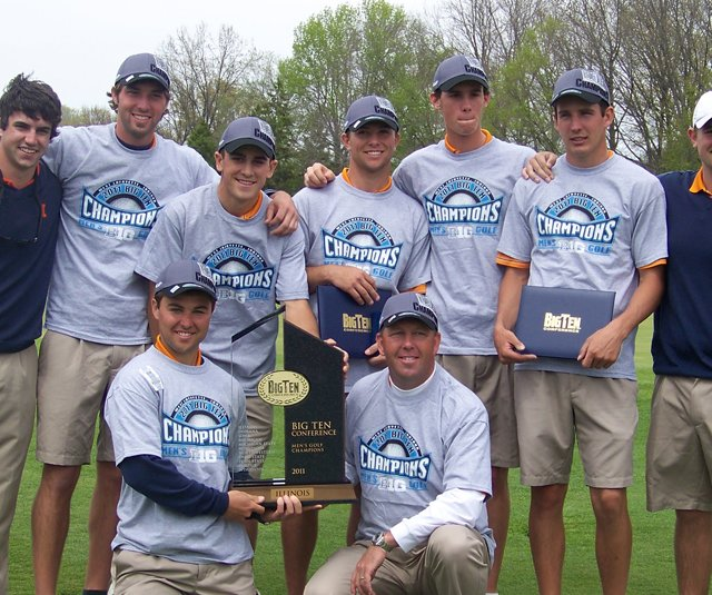 The Illinois men's golf team after winning its third consecutive Big Ten Championship.