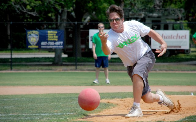 Former Maitland Mayor Doug Kinson pitches at the Friends of First Response-Maitland's Kickball Tournament on May 1.
